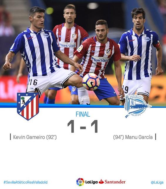La Liga: Atlético de Madrid 1 - Deportivo Alavés 1