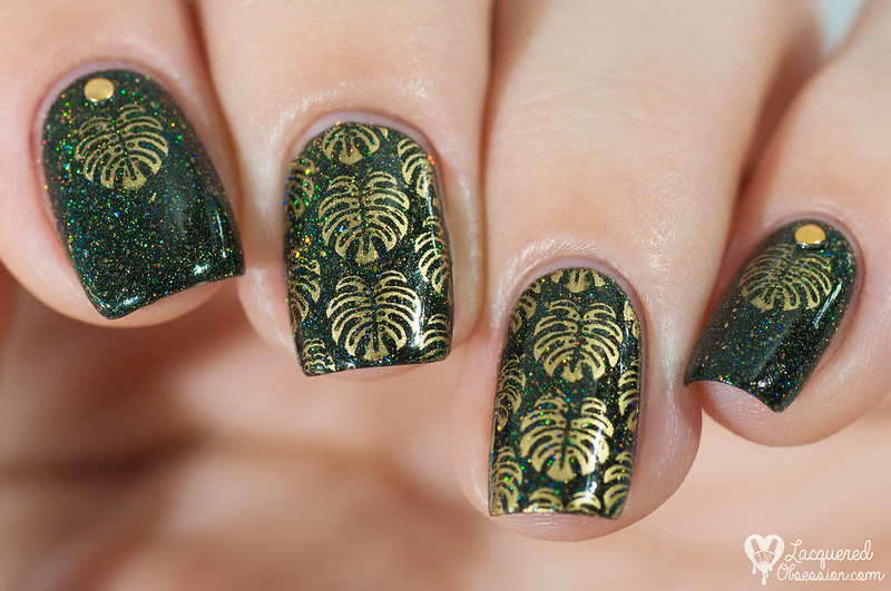 F.U.N Lacquer - Green Foliage + gold monstera stamping
