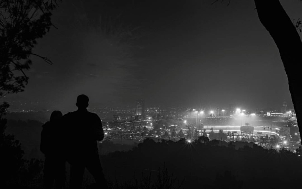 Dodgers Win!  Over @dodgers stadium with @gabe_rovira_002 awhile back. #dodgerstadium #fatherandson #dodgers #forthewin #blackandwhite #sihlouette #losangeles | by RobRovira