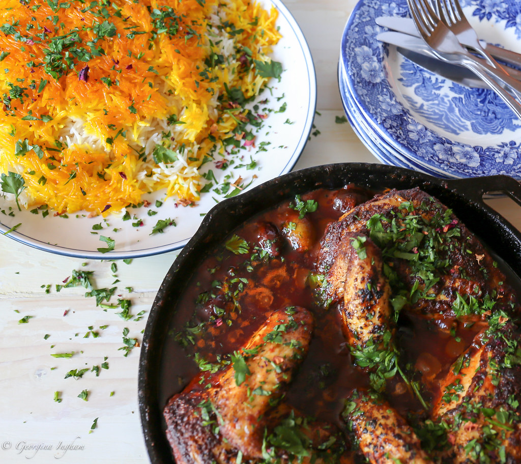 Georgina Ingham | Culinary Travels Photograph - Palomar Chicken with Olives & Saffron Tales Persian Chelow