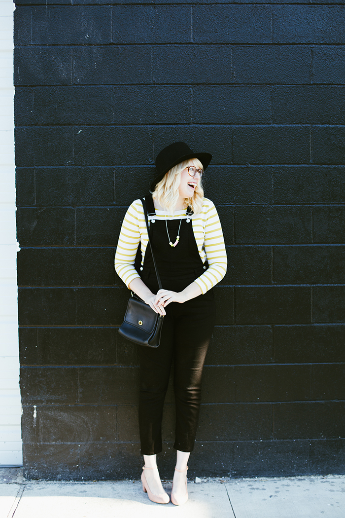 writes like a girl black overalls striped shirt11