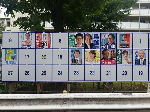 何日か前のですが都知事選立候補者のポスター一覧です。