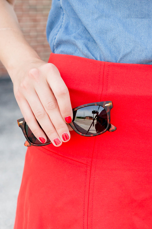 red skirt + chambray shirt + leopard print purse and sandals   Style On Target blog