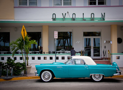 Ford Thunderbird in front of the Avalon Hotel - South Beach, Miami FL | by ChrisGoldNY