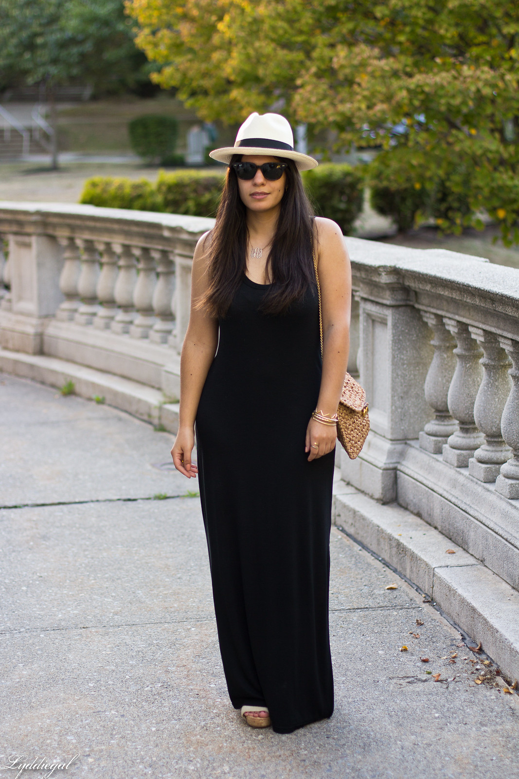 black maxi dress, panama hat, straw clutch-1.jpg