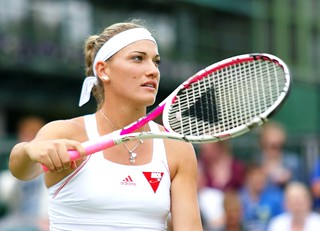 Timea Babos prepares to serve | by Not enough megapixels