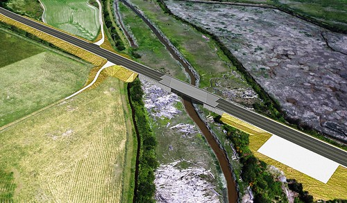 Design visual of improved highway and new Davis Slough bridge | by WSDOT