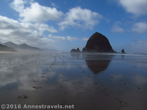 Reflections approaching Haystack Rock, Cannon Beach, Oregon