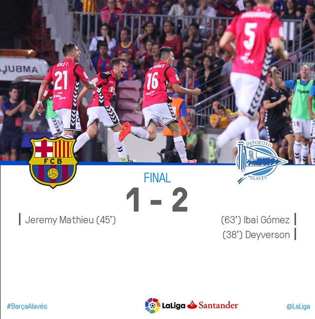 La Liga (Jornada 3): FC Barcelona 1 - Deportivo Alavés 2