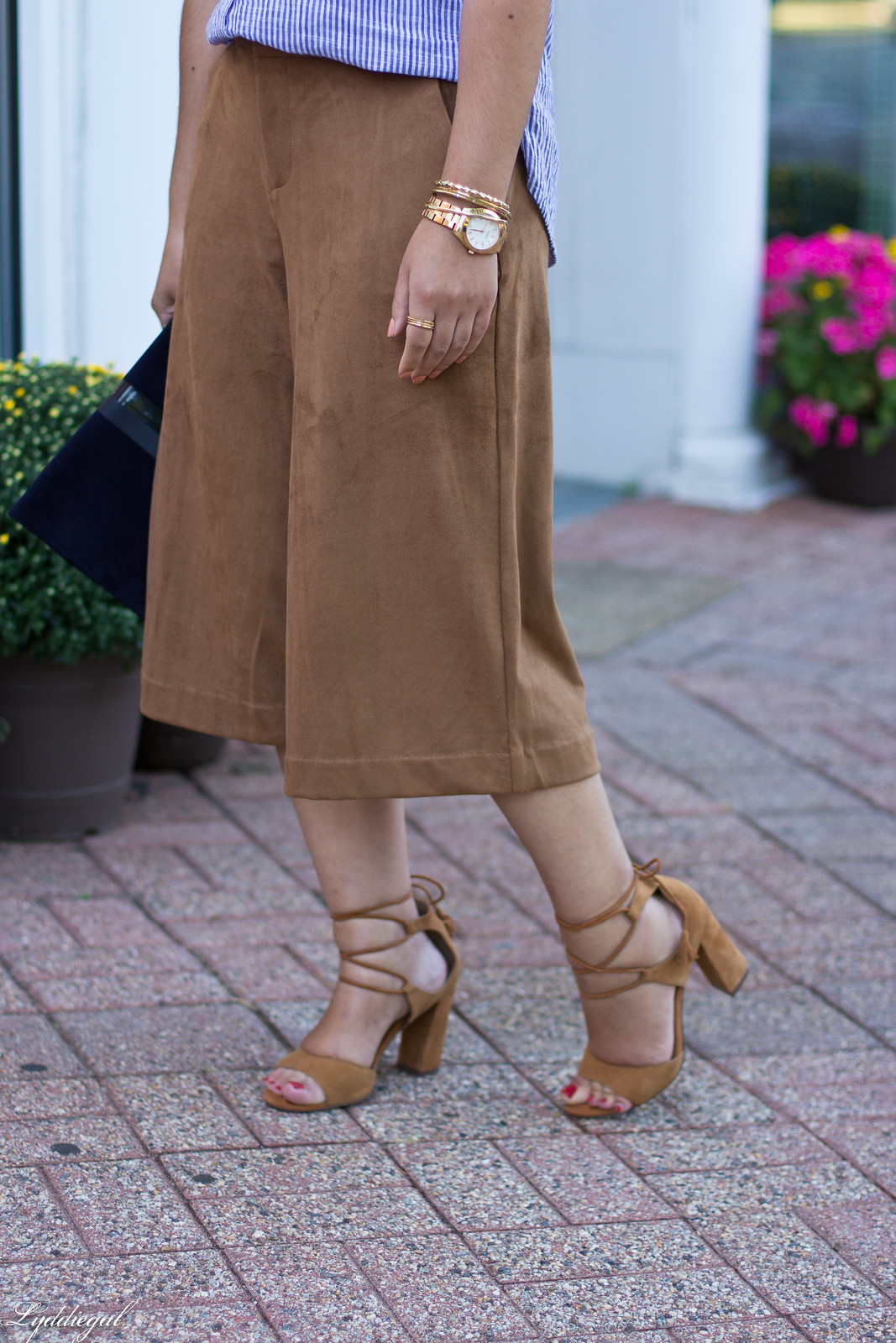 striped shirt, brown suede culottes, clare v clutch-4.jpg