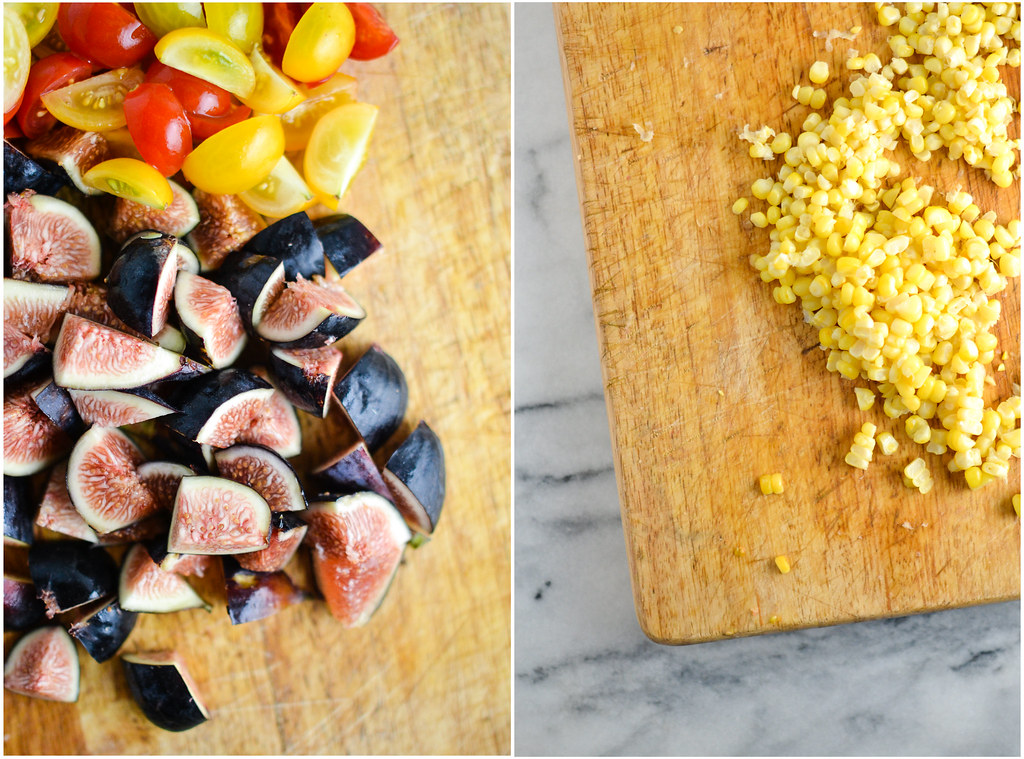 Panzanella Salad with Cherry Tomatoes, Figs, and Corn | Things I Made Today