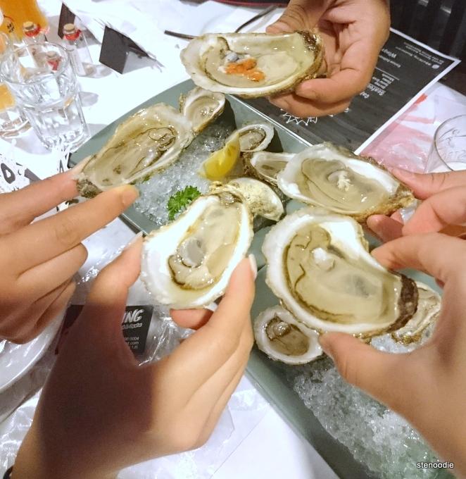 Cheersing with oysters