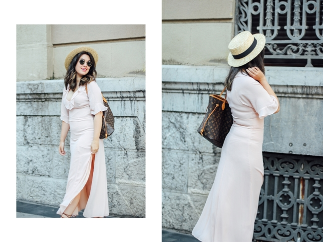 long nude dress and other stories summer outfit with canotier myblueberrynightsblog