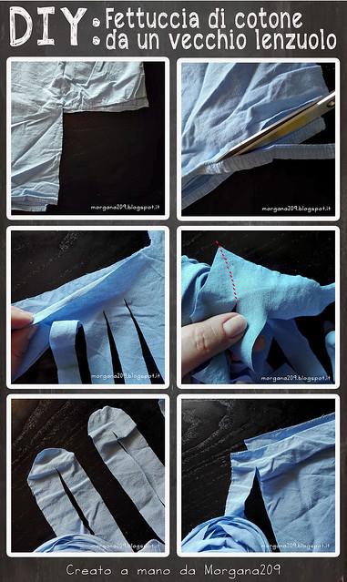 DIY fettuccia da un vecchio lenzuolo