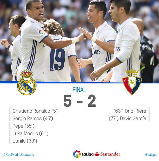 La Liga (Jornada 3): Real Madrid 5 - Osasuna 2