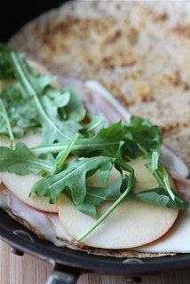 Lunchtime Quesadilla Recipe with Smoked Turkey, Apples, Havarti Cheese & Arugula | by CookinCanuck