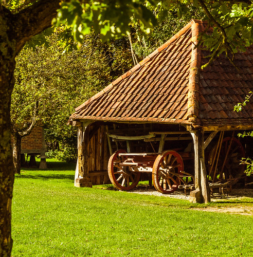 Farm Cart And Horse Whim In An 18th Century Open Shed At T
