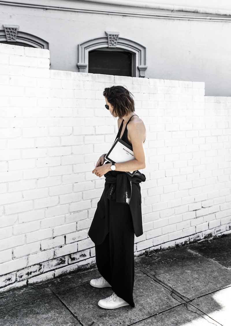 dion lee fine line cami minimal street style inspo all black Balenciaga canvas pochette bag Isabel Marant sneakers fashion blogger modern legacy (1 of 14)