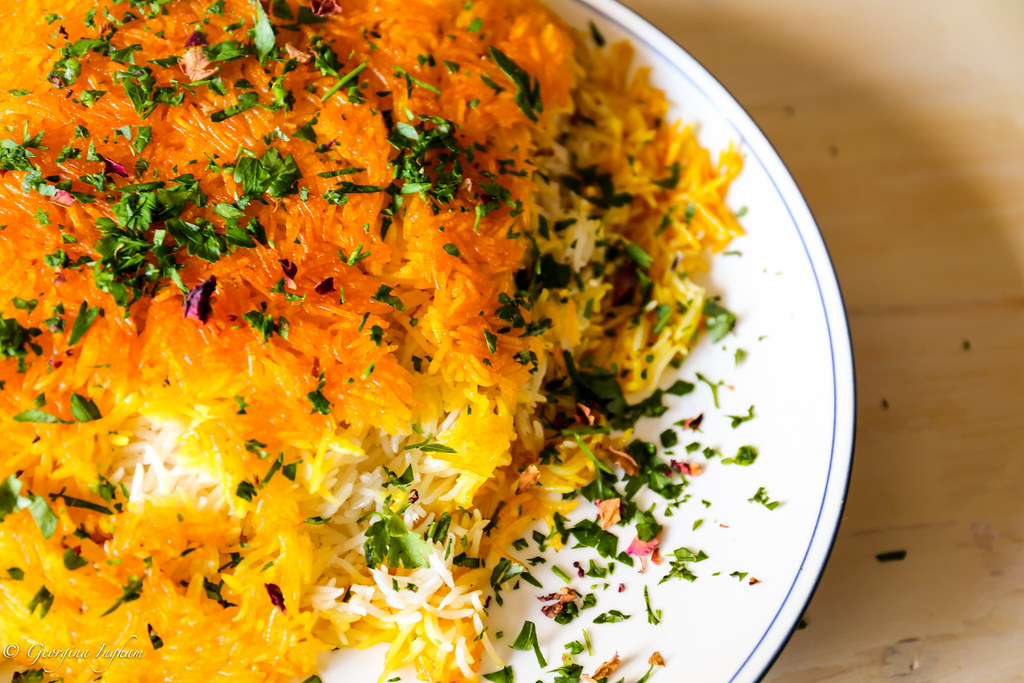 Georgina Ingham | Culinary Travels Photograph - Sweet Saffron Chelow: The ultimate Iranian rice dish