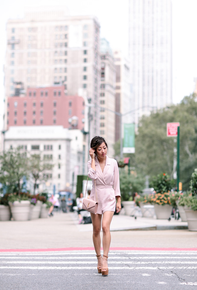 topshop petite pink romper nightime outfit