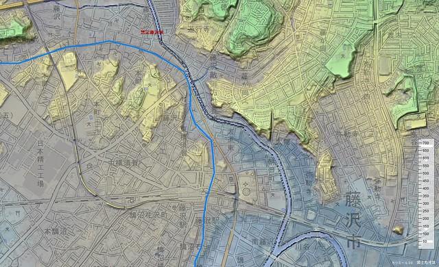 大道東周辺の3D地図