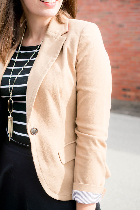 black and white stripe tee + tan blazer + black skirt + black purse | Style On Target blog
