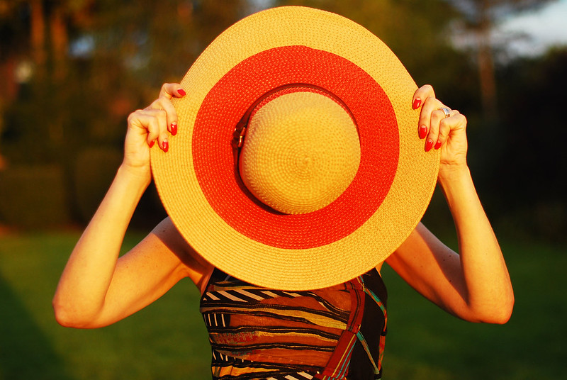 Easy summer dressing: Tribal-print maxi dress, wide-brimmed floppy hat | Not Dressed As Lamb, over 40 style