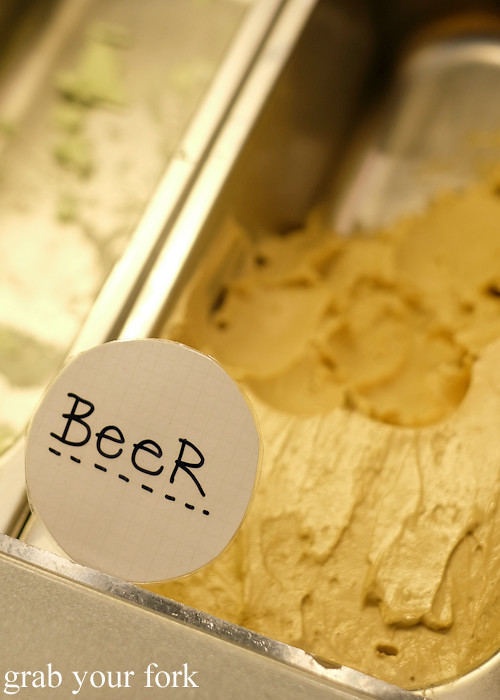 Beer artisan gelato at i-Creamy Artisan Gelato, Sydney