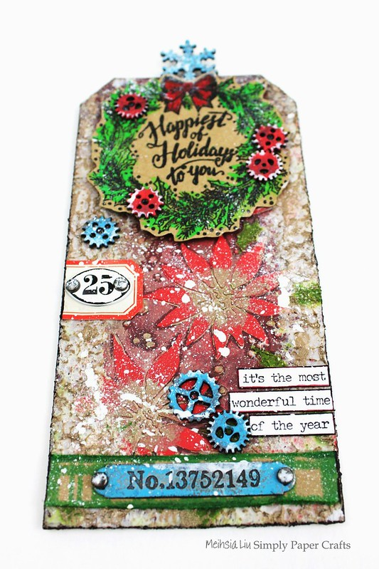 Meihsia Liu Simply paper Crafts Mixed Media Tag Christmas Simon Says Stamp Tim Holtz New Release