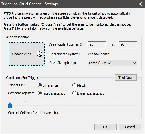 Trigger on Visual Change - Settings
