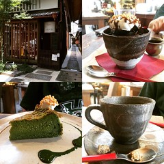 1st time checking out café quarirengue : coffee jelly, matcha cake & coffee❤︎ #kyoto #caféquarirengue #japan #カフェ火裏蓮花 #京都 #latergram