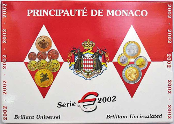 Oficiálna sada Euro mincí Monako 2002