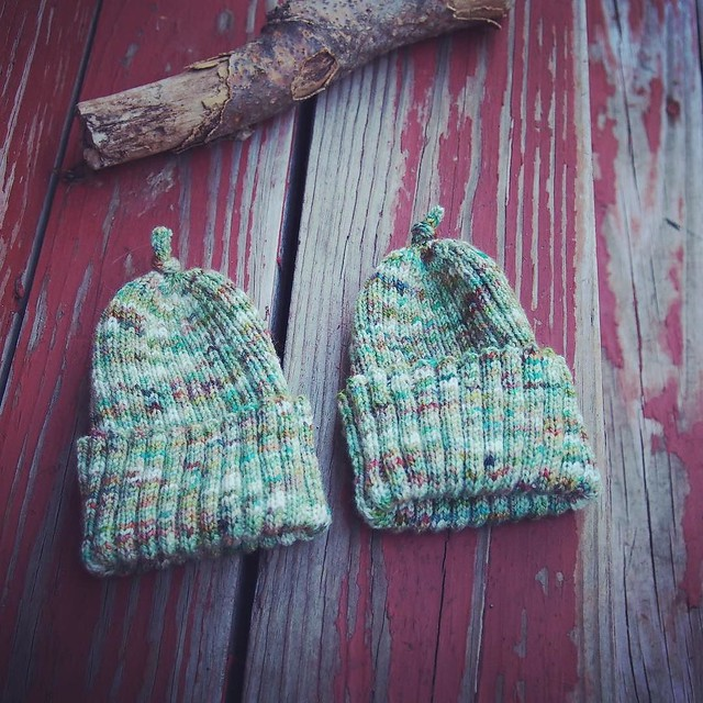 I knit a pair of baby hats :)
