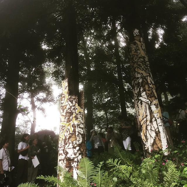 公募大賞グランプリ 川田知志(かわたさとし) 六甲高山森林内壁画(ろっこうこうざんしんりんないへきが) 漆喰の支持体をその場の地形に合わせて作る作業から始め、自然景観に存在するさまざまな線や色味と対話するように描かれている。