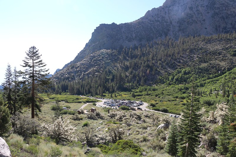 The trailhead parking lot in Onion Valley as we hike down the Kearsarge Pass Trail