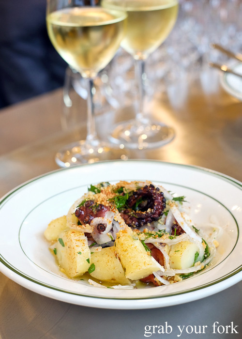 Wood grilled octopus with manchego cream at Bodega 1904 at the Tramsheds Harold Park