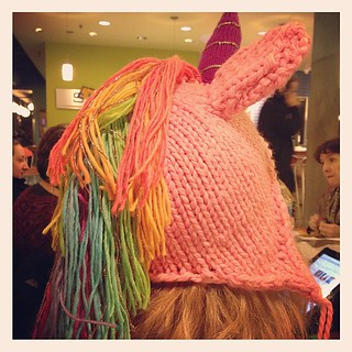Unicorn hat a friend is knitting for her 4 yo. Want one so bad! | by happyskrappy
