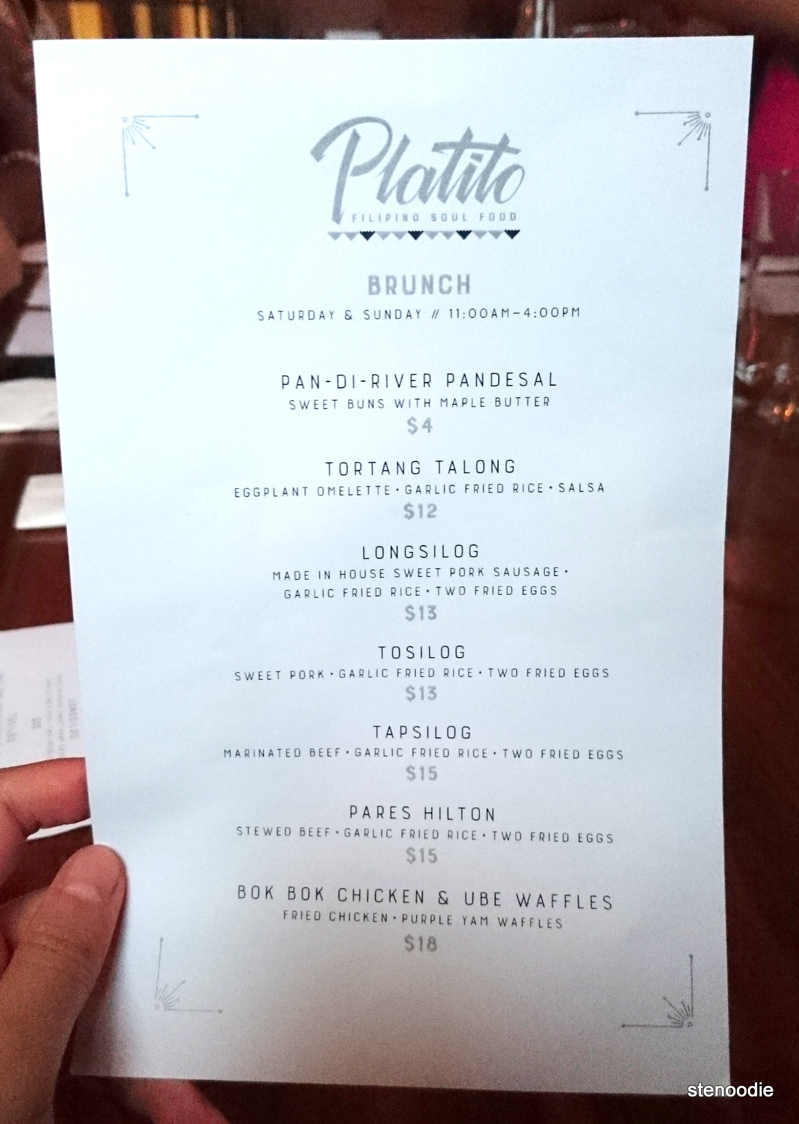 Platito Filipino Soul Food Brunch menu and prices