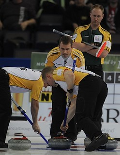 Edmonton Ab.Mar10,2013.Tim Hortons Brier.Manitoba skip Jeff Stoughton,third Jon Mead,lead Mark Nichols,Northern Ontario skip Brad Jacobs.CCA/michael burns photo | by seasonofchampions