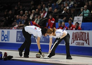 Penticton B.C.Jan12_2013.World Financial Group Continental Cup.Team World lead Janine Greiner,second Carman Kung.CCA/michael burns photo | by seasonofchampions