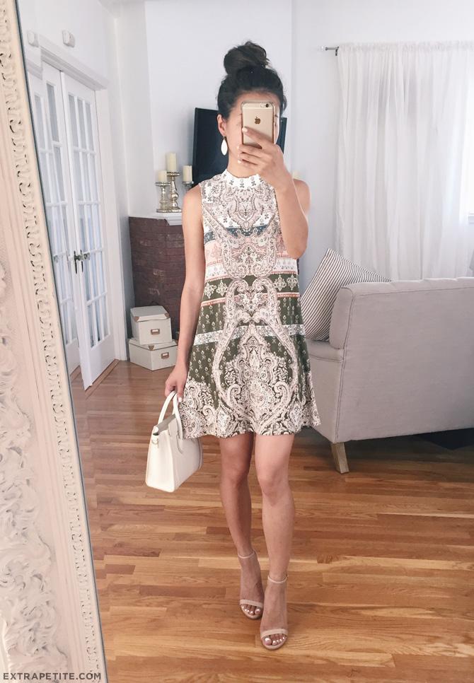 paisley printed swing dress petite fashion