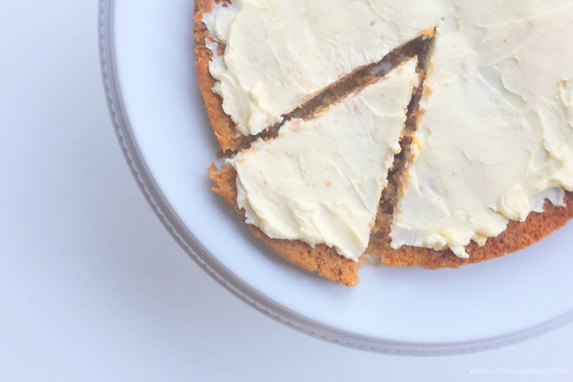 Gluten free sugar free carrot cake top macro view by little luxury list