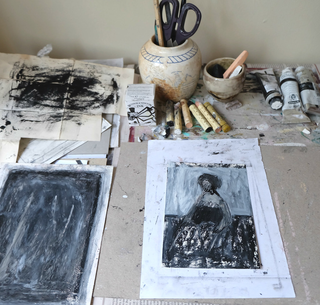 drawing table, with mixed media