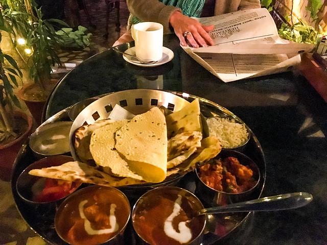 Thali at The Peacock Rooftop Restaurant, Jaipur, India ジャイプール、ピーコックルーフトップレストランのターリー
