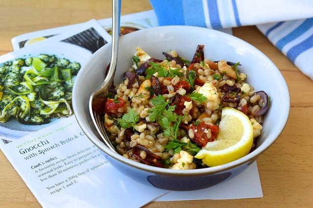 Roasted Tomato Salad with Feta, Pearl Barley & Herbs | www.rachelphipps.com @rachelphipps