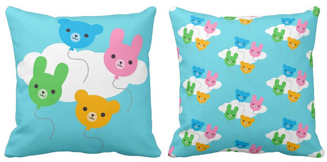 Animal Balloons reversible pillow at Zazzle