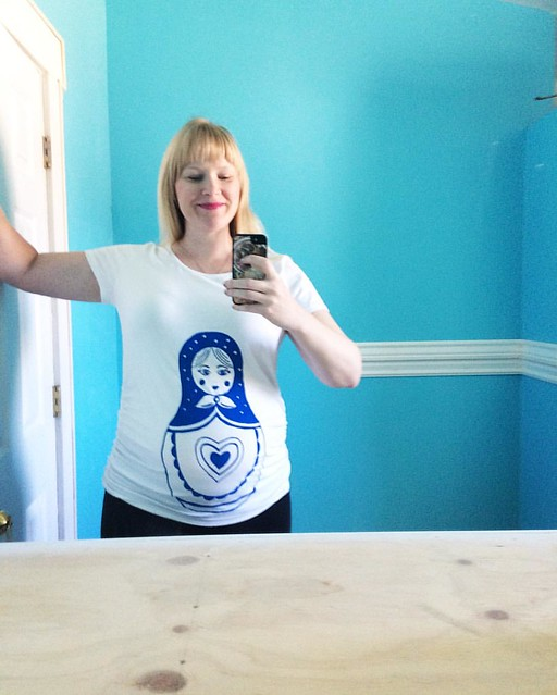 My cute Russian nesting doll maternity tee, courtesy of Etsy shop Baby Belly Laughs.