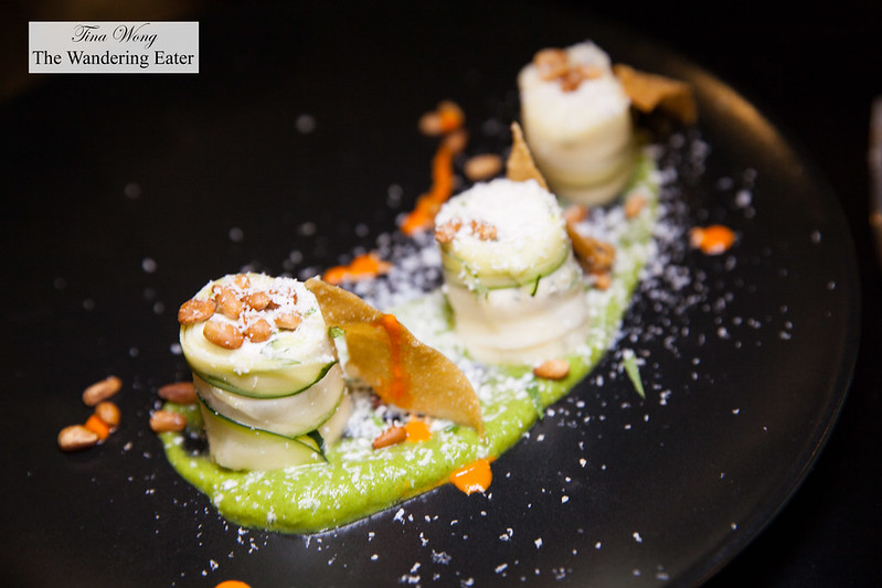 Zucchini 'maki' filled with ricotta & mint, zucchini sauce, smoked ricotta