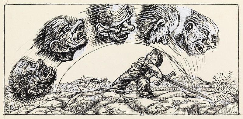 "Per Krohg - ""He chopped the troll , then all five heads sped away over the sand."" Illustration for ""Little Short "" , P. Chr. Asbjørnsen and J. Moe, total adventure, 1936"