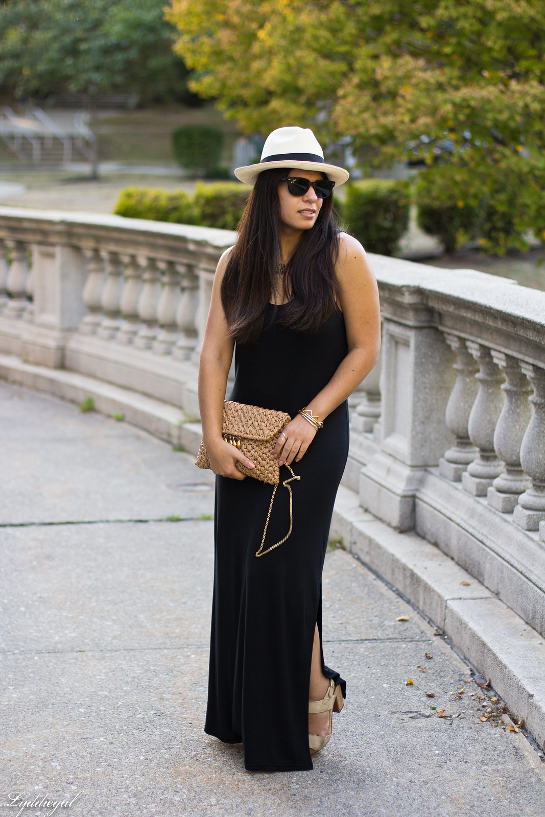 black maxi dress, panama hat, straw clutch-3.jpg